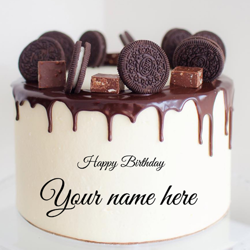 Write Name on Oreo Biscuit Decorated Chocolate Cake