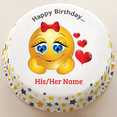 Cute Baby Girl Love Emoji Birthday Cake With Your Name