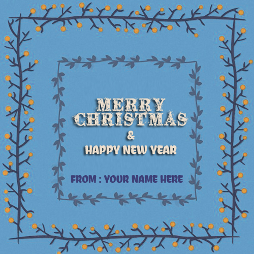 Write Name on Merry Christmas and New Year Poster Pics