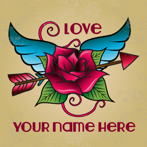 Write your name on Dark pink rose tattoo with wings