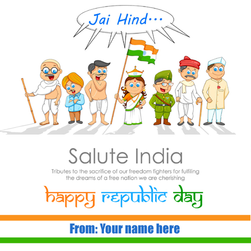 Write name on happy republic day 26 january pics