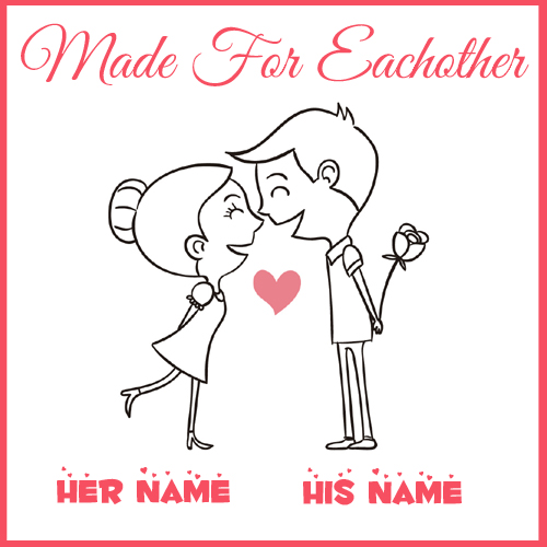 Hand drawn Couples in Love Greeting With Your Name