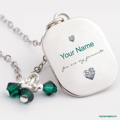 Write name on crystal silver necklace profile pic