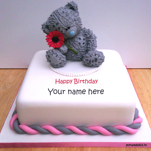write name om teddy birthday cake profile pic