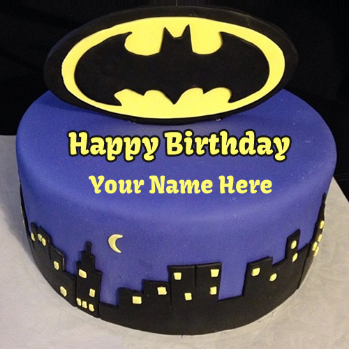 Dark knight batman birthday wishes cake with your name generate greeting m4hsunfo