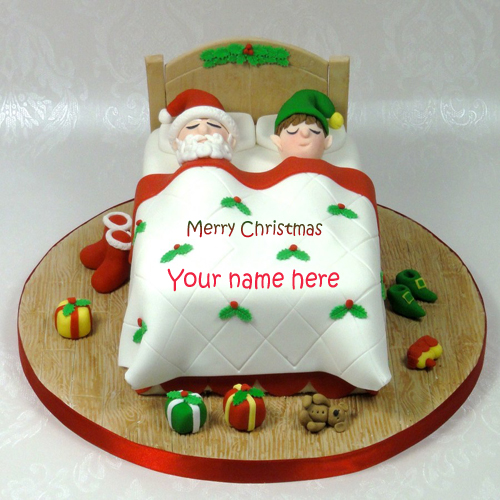Write name on Christmas santa cake profile pic