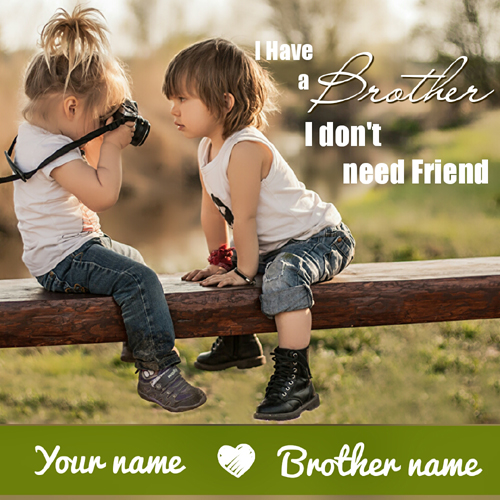 I Love My Brother Cute Greeting Card With Custom Name