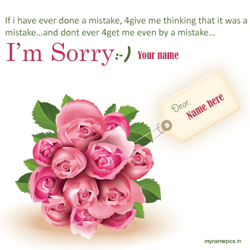 Write name on i am sorry greeting card online