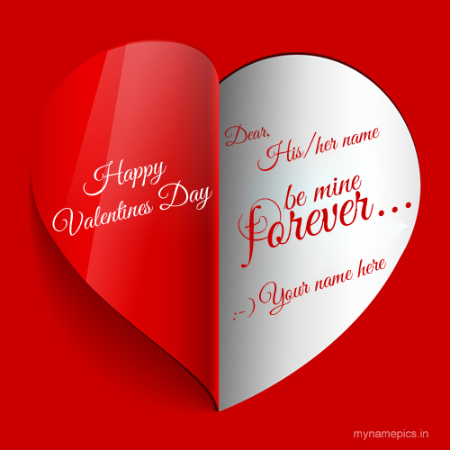 Write Name on Happy Valentine Day Red Heart Greeting