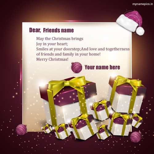 Print Your Text on Christmas Gifts Greetings With Quote