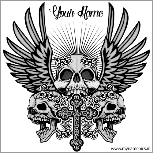 Designer Skull Tribal Tattoo Design For Mens With Name