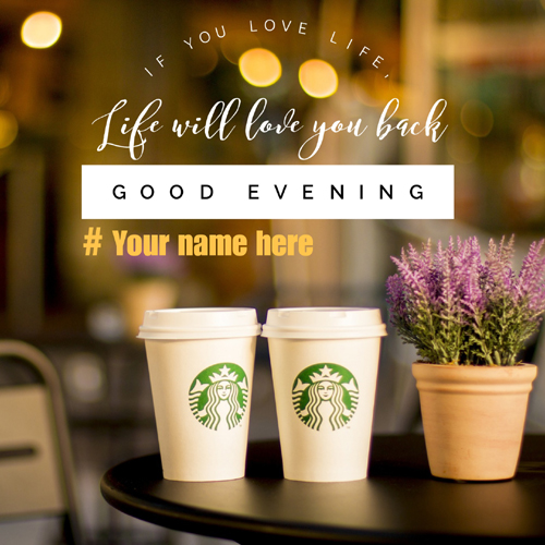 Write Name on Good Evening Wishes Elegant Greeting Card