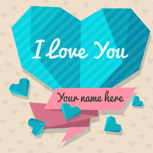 I Love You Embossed Crystal Heart Greeting With Name
