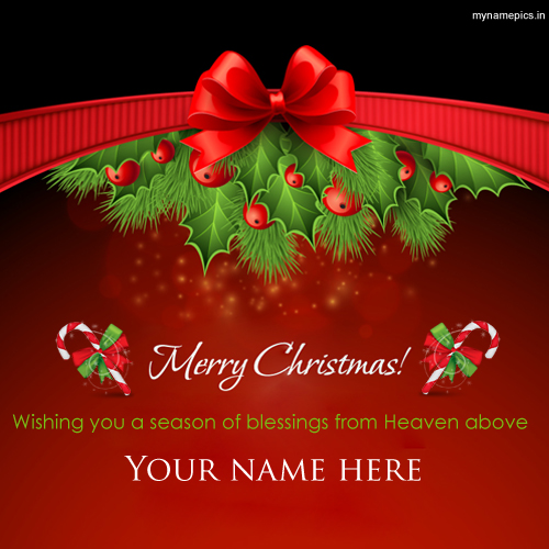 Write Name on Santa Claus Blessings Christmas Greeting