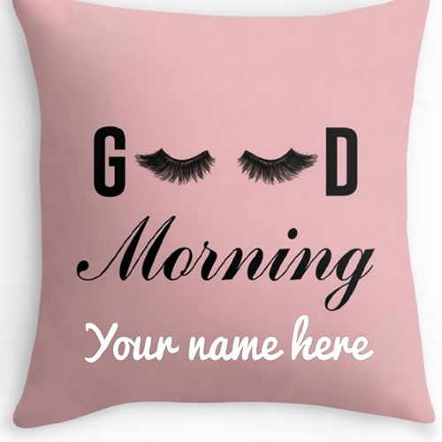 Good Morning Pink Pillow Greeting Card With Your Name