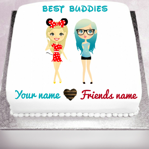 Images Of Cake For Friendship Day : Best Buddies Friends Forever Heart Greeting With Name