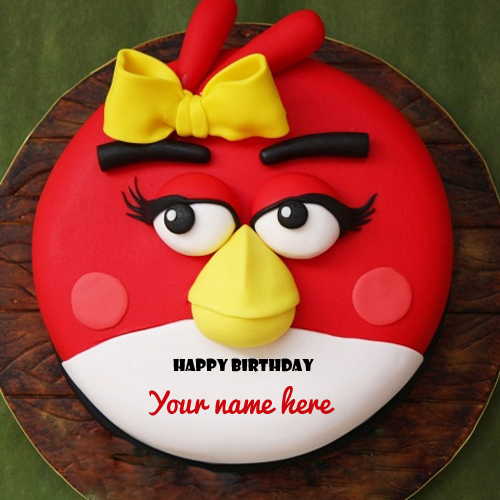 Angry bird kids cake birthday wishes with your name