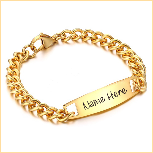 Awesome Gold Bracelet For Mens With Your Custom Name