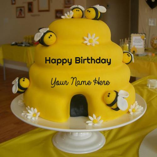 Write Name On Mini Bumble Bee Birthday Cup Cake
