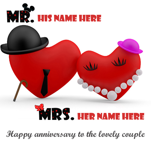 Happy Anniversary To Lovely Couple Greeting With Name