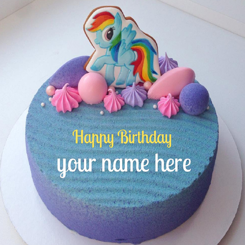 Generate Name on Beautiful Unicorn Birthday Cake