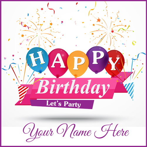 Birthday Celebration Name Card With Colourful Balloons