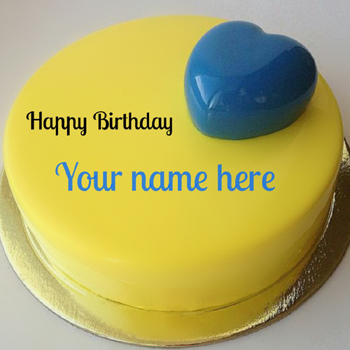 Mango Flavour Name Cake with Blueberry Heart Toppings