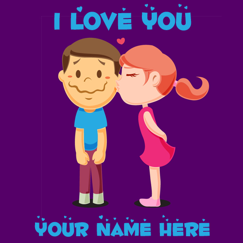 Young Lovers in Romantic Moment Cute Name Greeting Card