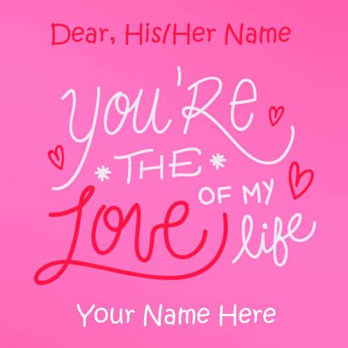 Pink Love Quote Greeting Card With Couple Name