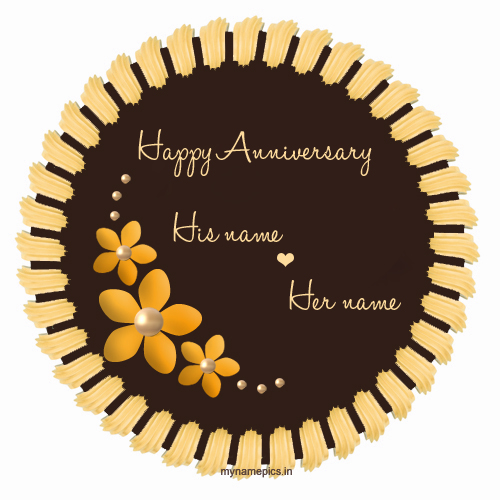 Write name on flower wedding anniversary cake profile p
