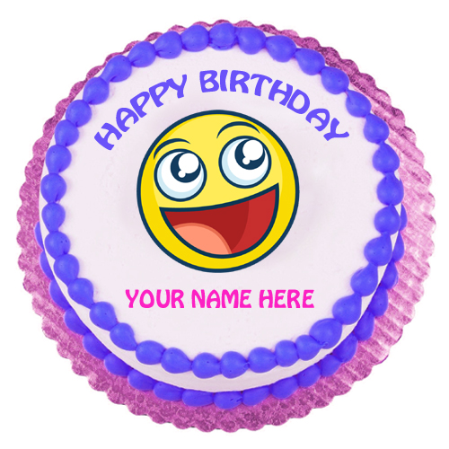 Cute Smiling Emoji Birthday Designer Cake With Name