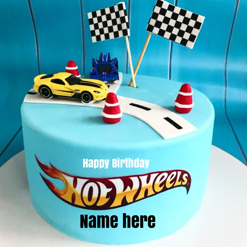 Hot Wheels Birthday Wishes Cake For Kids With Your Name