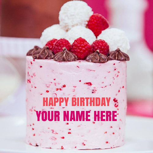 Strawberry Caramel Birthday Wishes Cake With Your Name