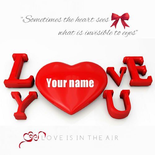 Beautiful Embossed Red Love Heart Greeting With Name