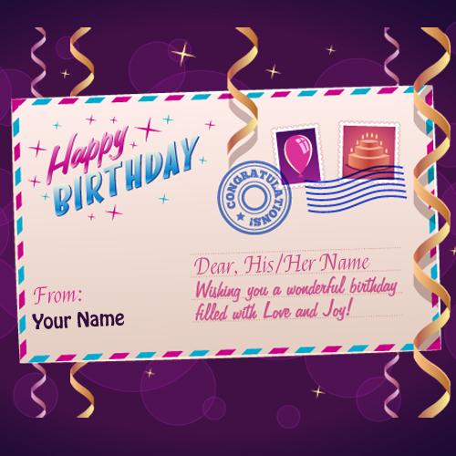 Happy Birthday Postcard Greeting With Your Name