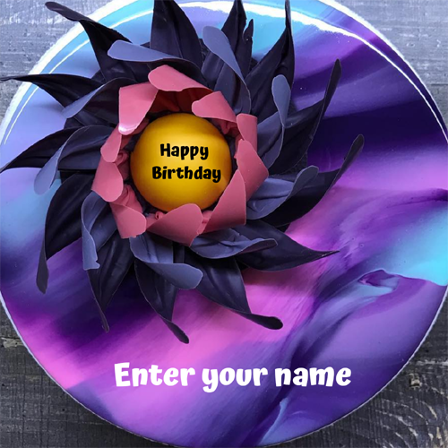 Floral Art Purple Elegant Birthday Cake Pic With Name