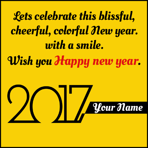 Happy New Year Wish Card With Quotes and Your Name