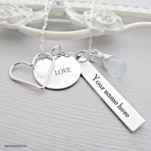 Write your name on silver heart necklace pics