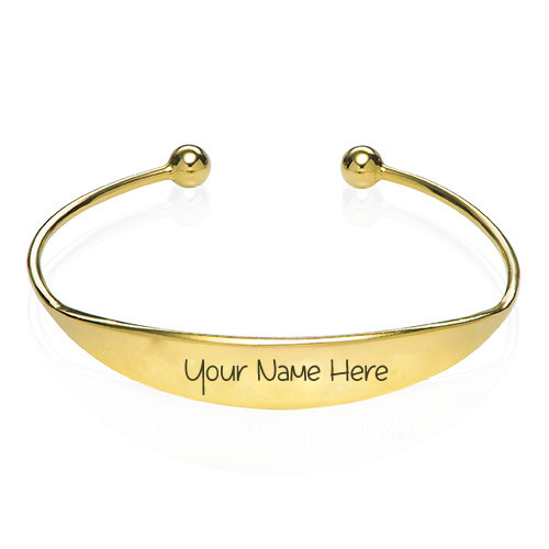 Write Name on 18k Gold Plated Bangle Bracelet DP Pics