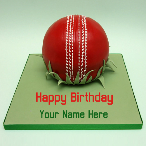 Happy Birthday Cricket Sports Cake With Your Name