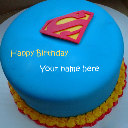 Write name on superman birthday cake pics