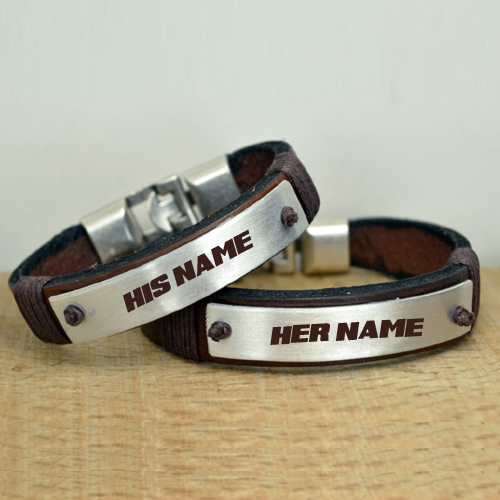 Personalized Couple Leather Bracelet With Custom Name