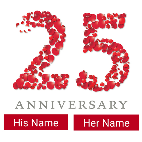 Happy 25th Anniversary Greeting Card With Your Name