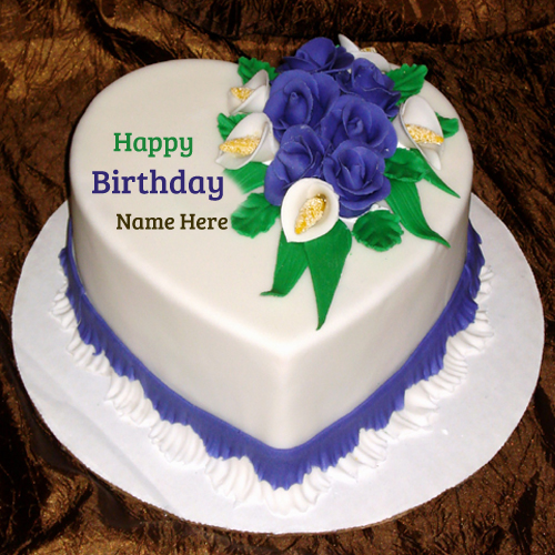 HBD Flower Decorated Cake With Your Name