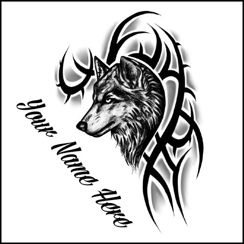 Amazing Wolf Black and White Tattoo Design With Name