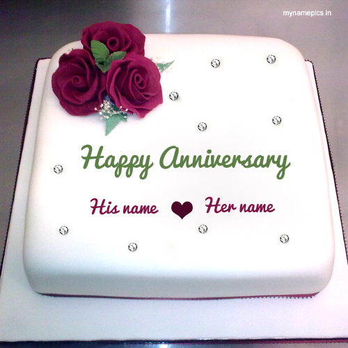 Write name on happy anniversary cake profile pic