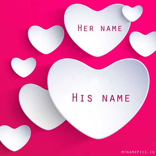 Write name on Love heart greeting card
