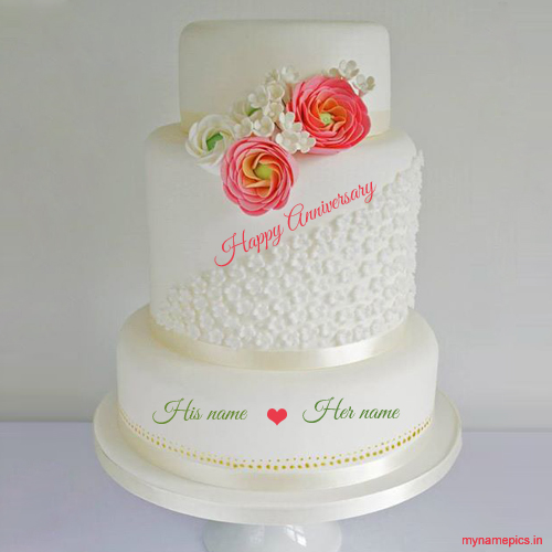 Write name on New wedding anniversary cake profile pic
