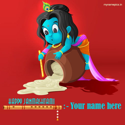 write name on Happy Janmashtami bal krishna wishes card