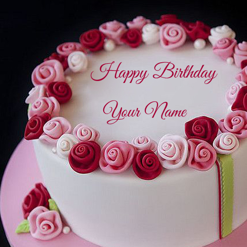 Beautiful Red and Pink Flower Birthday Cake with Name
